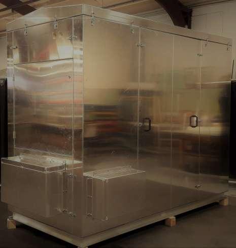 Demontierbare Kabine für einen Kompressor mit Schallisolierung